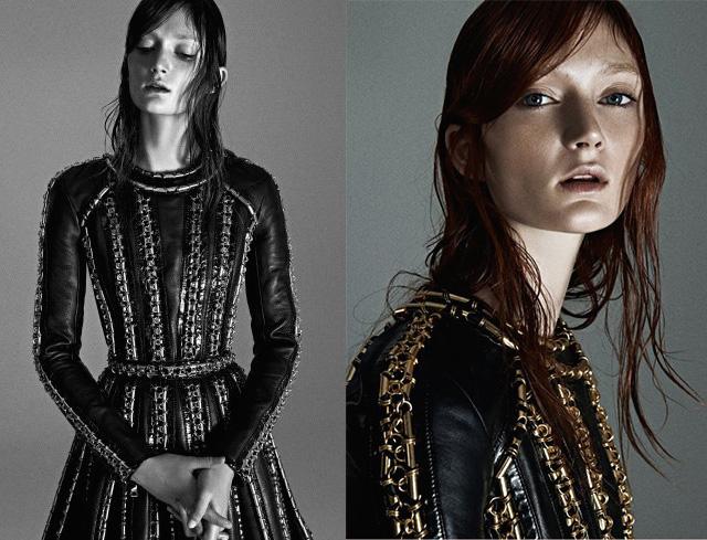 Balmain Black Leather & Chainmail Dress