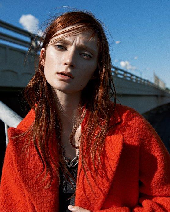 Cédric Charlier Orange & Taupe Bouclé Wool Coat