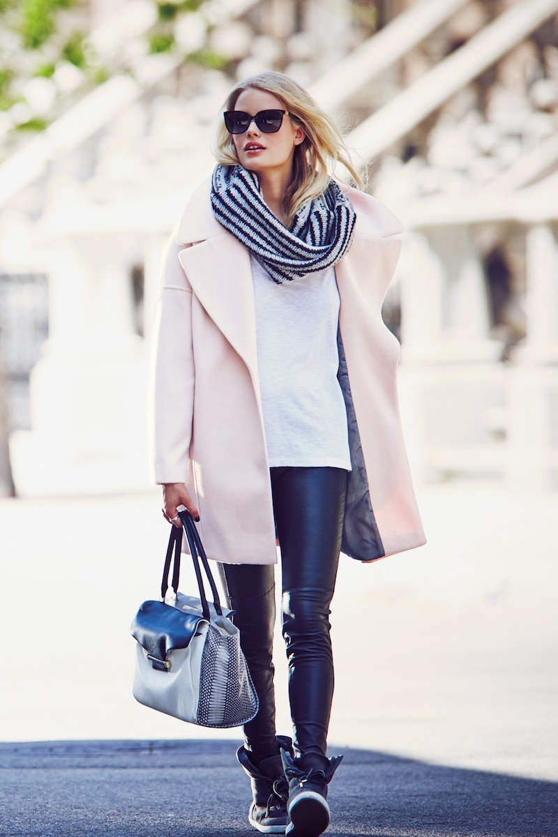 Calvin Klein Pink Notch Collar Coat