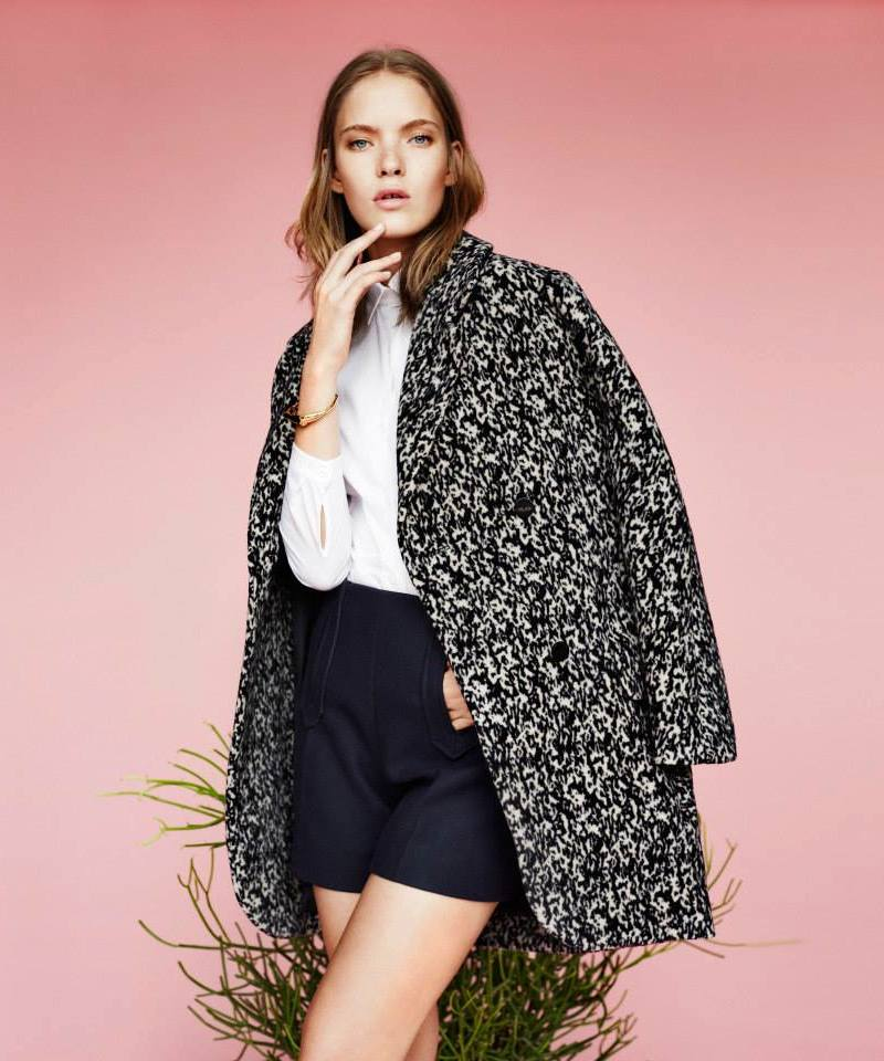 Carven Abstract-print Oversize Double Breasted Coat