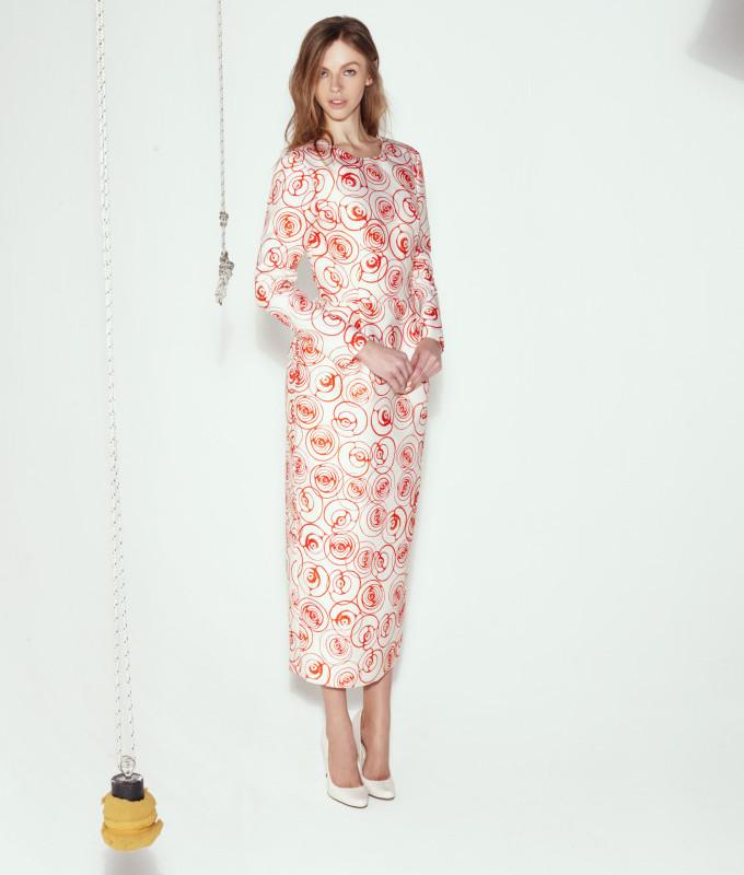 Caterina Gatta Roses-print Crepe Dress_1