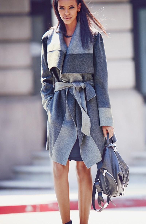 Diane von Furstenberg Mackenzie Two-Tone Cozy Coat
