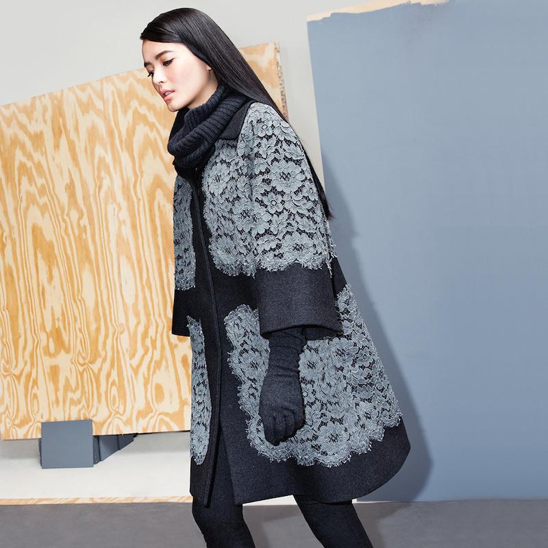 Dolce & Gabbana Lace Applique Coat
