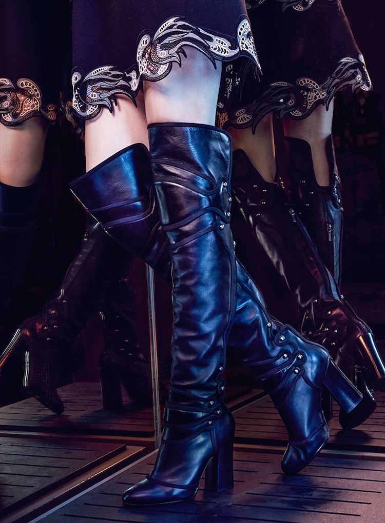 Dolce & Gabbana Leather Embroidered Over-The-Knee Boots