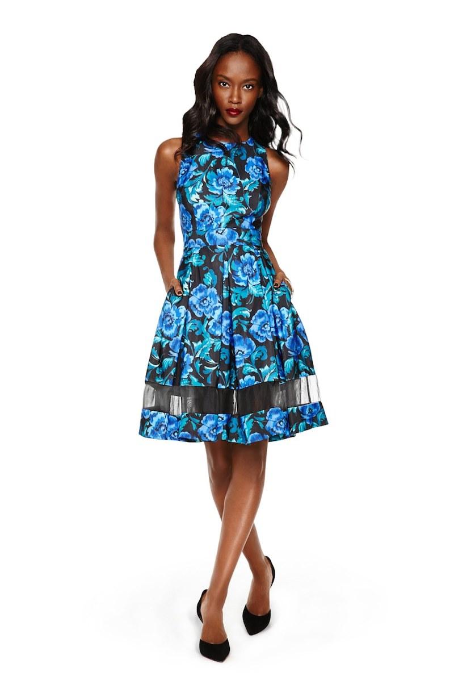 Eliza J Cutout Floral Print Fit & Flare Dress