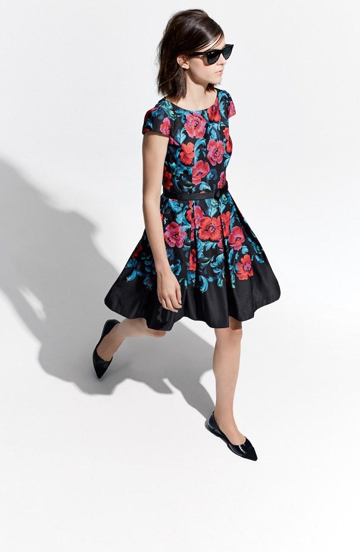 Eliza J Floral Print Pleat Fit & Flare Dress