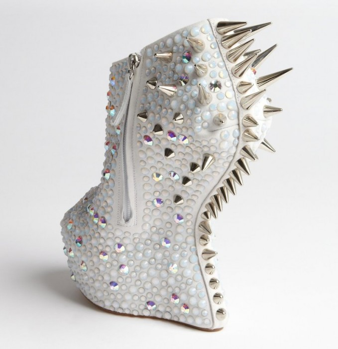 Giuseppe Zanotti Crystal and Spike Studded Platform Peep Toe Pumps