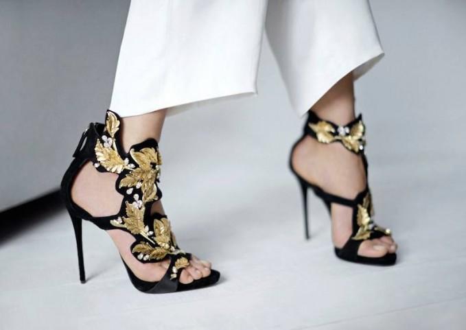Giuseppe Zanotti Goline Leaf Filigree Suede Sandals