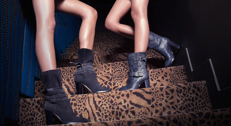 JIMMY CHOO Mercy Black Suede Mid-Calf Boots & Dart Asphalt Crushed Shiny Leather High Heeled Biker Boots