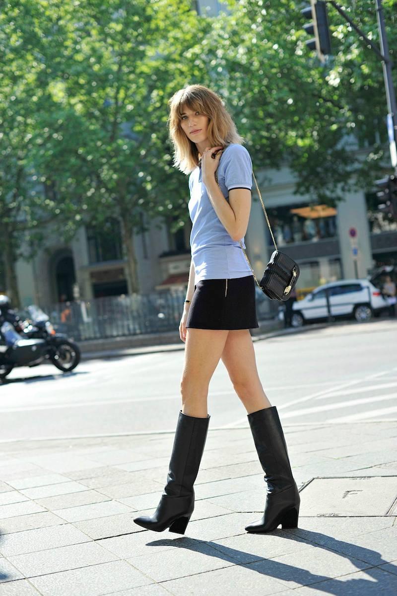JIMMY CHOO Zadie Black Pleated Coated Fabric Cross Body Bag & Cartel Knee High Wedge Boots