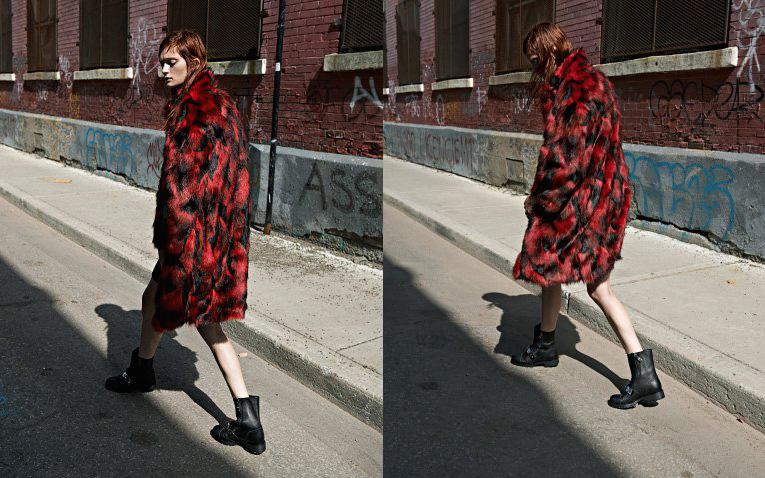 Jay Ahr Red & Black Faux-Fur Overcoat