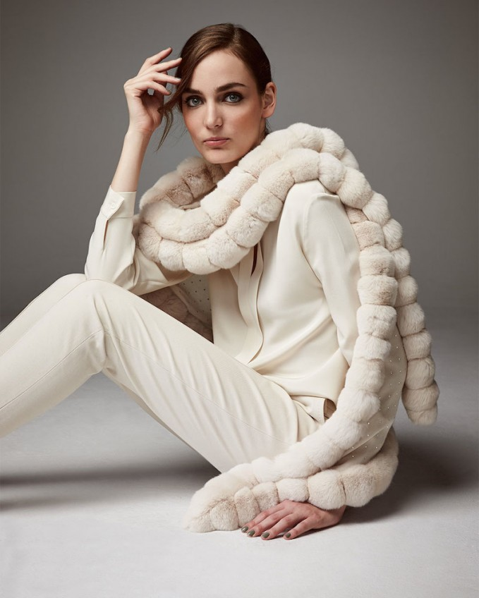 Loro Piana Oval Chinchilla Fur Crystal Wrap