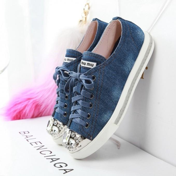 Miu Miu Jewel Studded Cap Toe Sneakers
