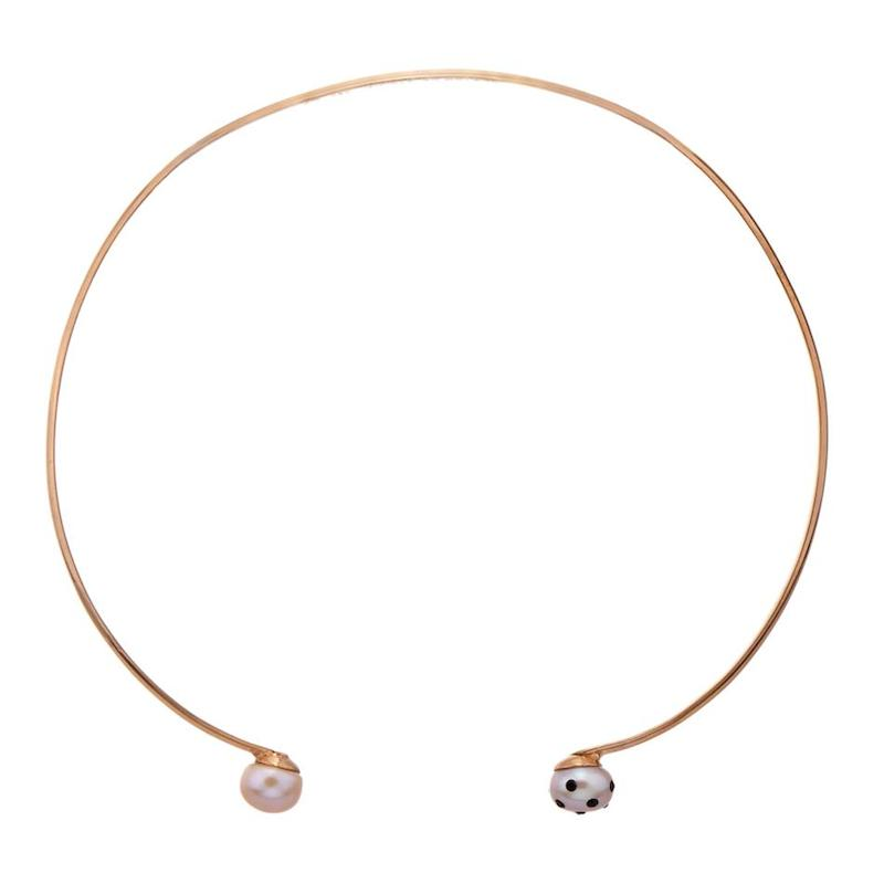 Nektar de Stagni Lady Bug Pink-pearl & Gold-plated Choker_1