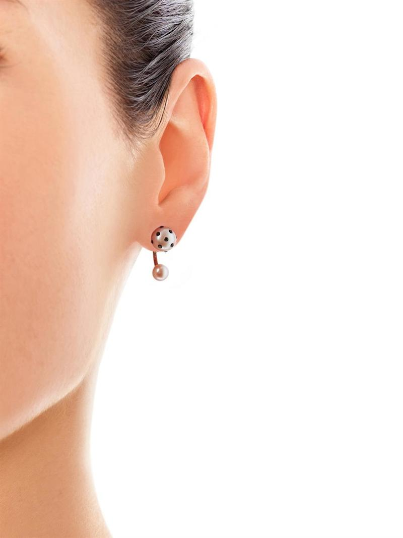 Nektar de Stagni Lady Bug Pink-pearl & Gold-plated Earrings