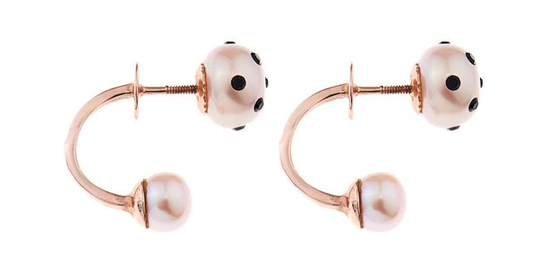 Nektar de Stagni Lady Bug Pink-pearl & Gold-plated Earrings_2