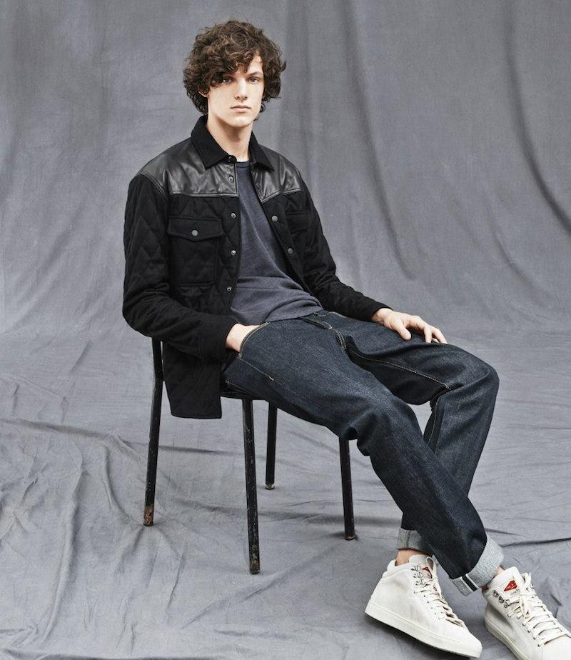 Rag & Bone Leather-Trim Quilted Shirt-Jacket