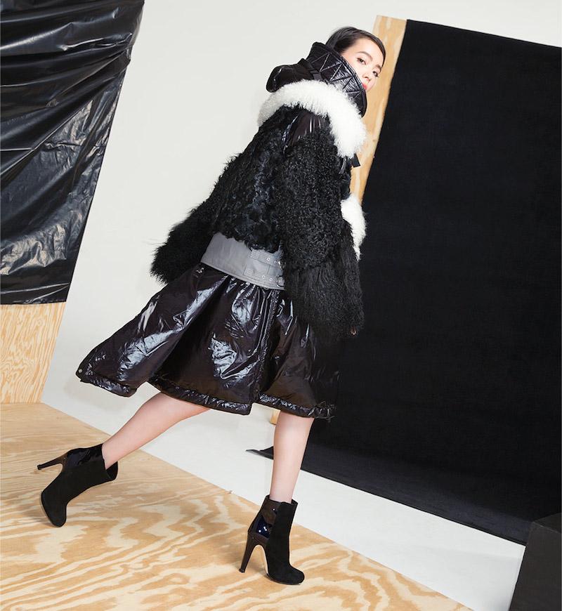 Sacai Shearling-Sleeve Puffer Jacket