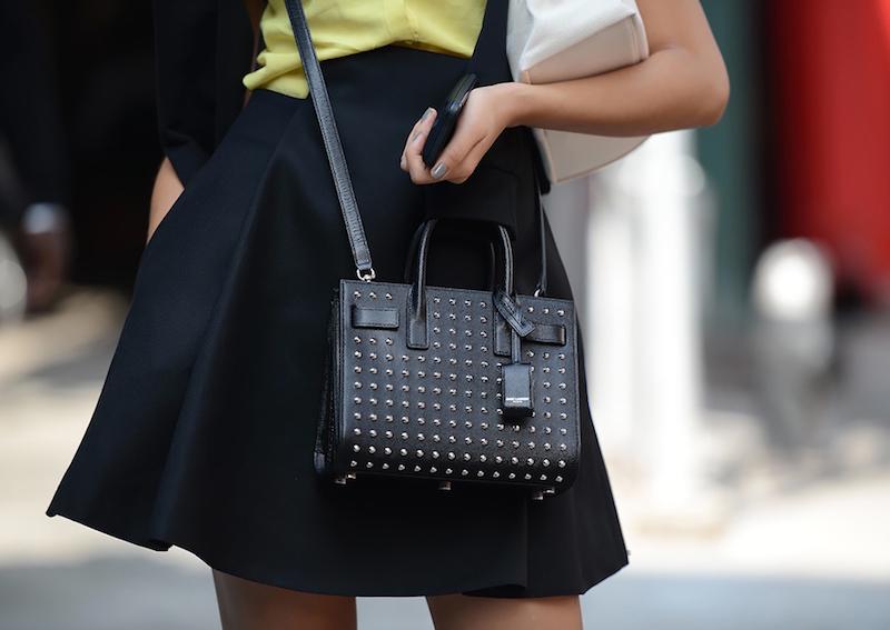 dea954557d0 NYFW Street Style // Saint Laurent Mini Studded Sac De Jour Bag – NAWO