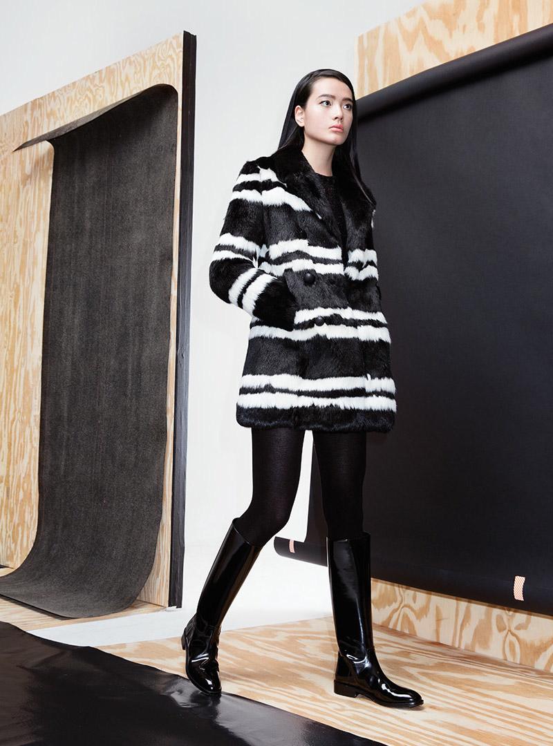 Saint Laurent Striped Rabbit Fur Jacket