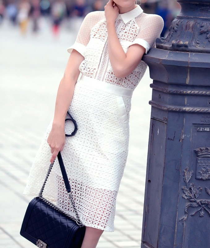 Self-Portrait Pattern Play Midi Dress
