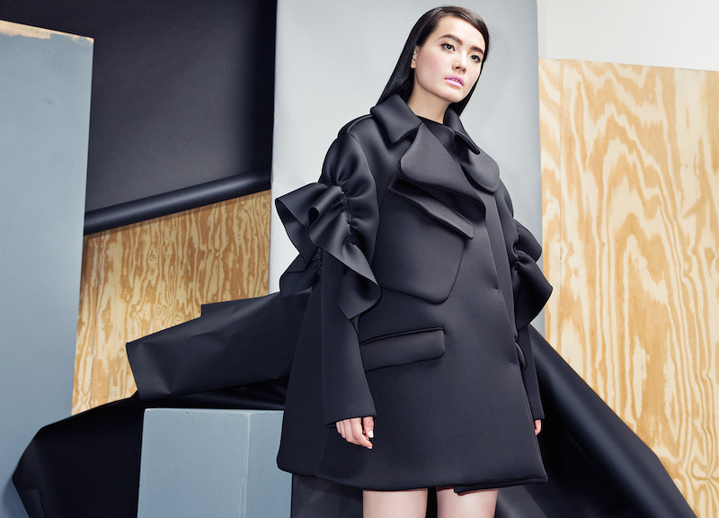 Simone Rocha Ruched-Shoulder Scuba Coat