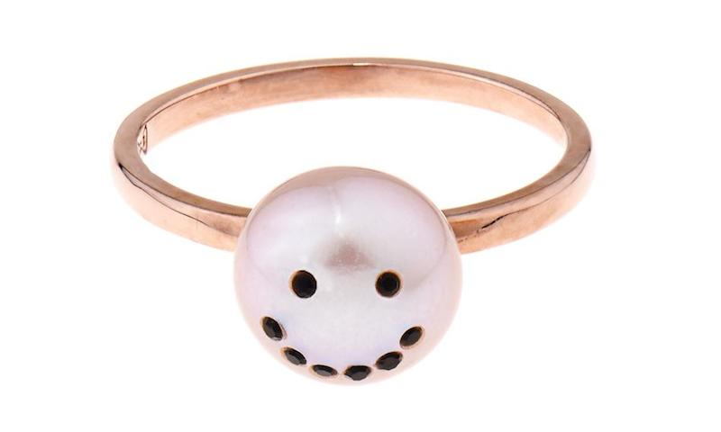 Smiley Face Pink-pearl & Gold-plated Ring_1