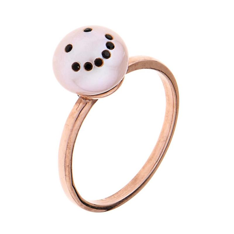Smiley Face Pink-pearl & Gold-plated Ring_2