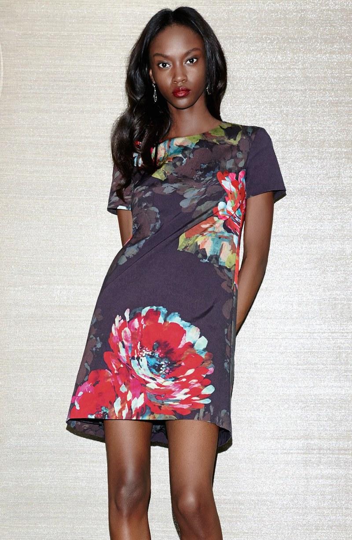 Trina Turk Natasha Flower Print Faille A-Line Dress