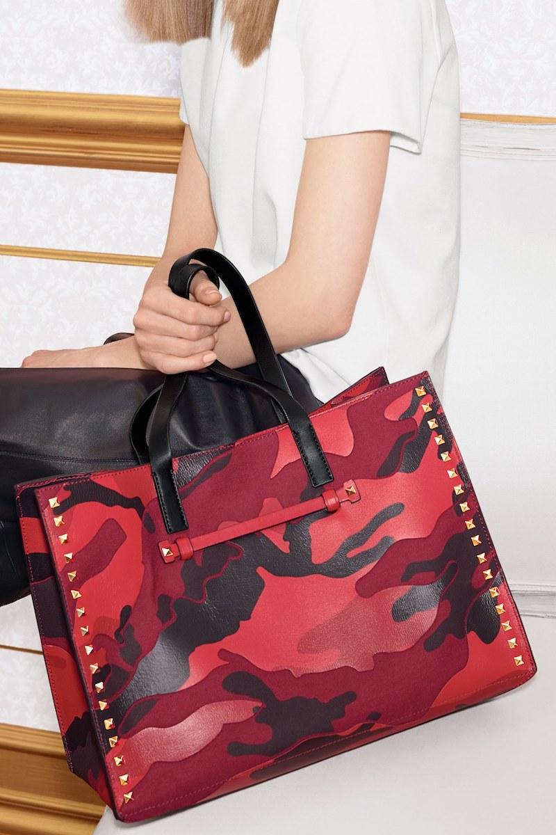 Valentino Rockstud Camo Canvas & Nappa Leather Tote