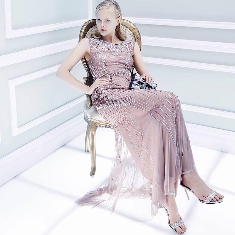 Aidan Mattox Deco-Print Beaded Gown