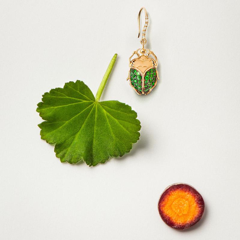 Aurélie Bidermann Fine Tsavorite, Diamond & Gold Scarab Drop Earrings