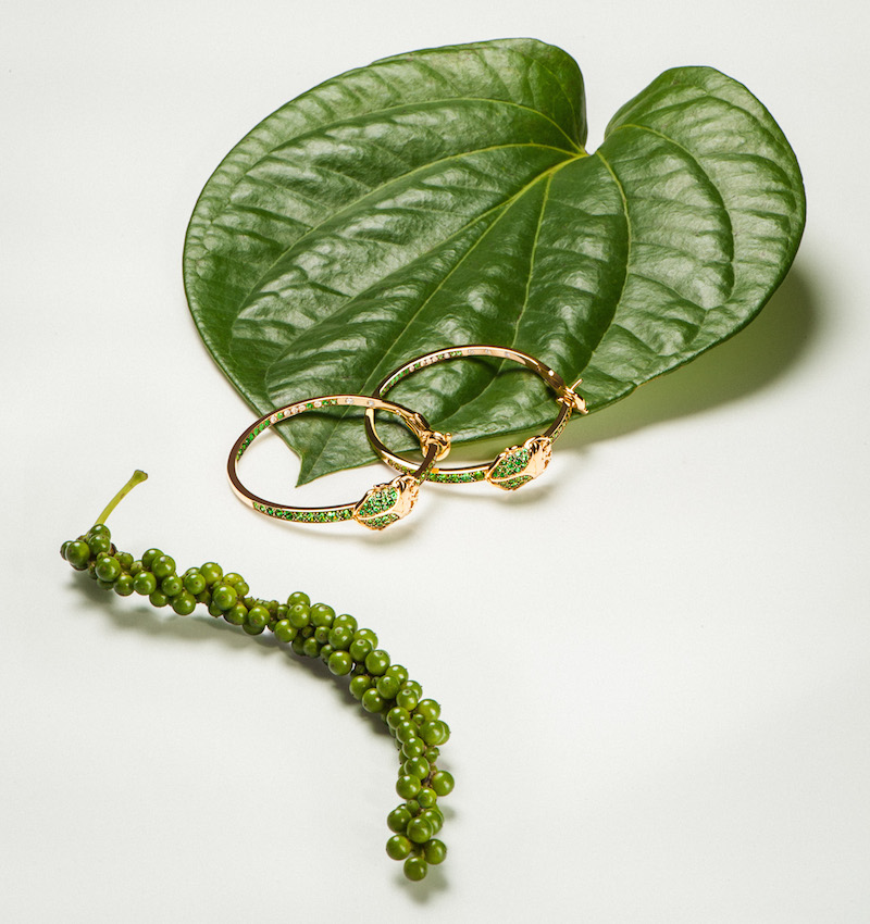 Aurélie Bidermann Fine Tsavorite, Diamond & Gold Scarab Hoop Earrings