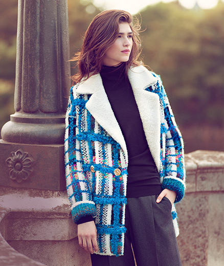 Coohem Powered Check Knitted Tweed Coat