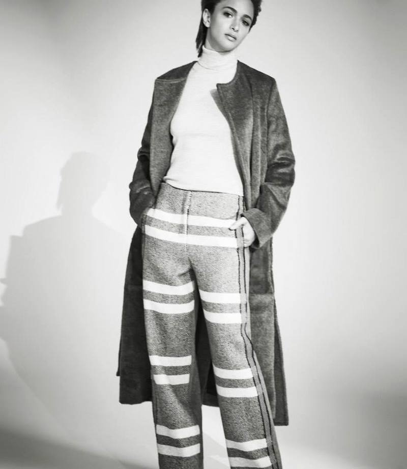 Edun Herringbone & Flannel Wide-Leg Pants