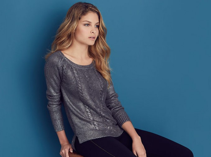 Ella Moss Metallic Cotton Cable Knit Sweater