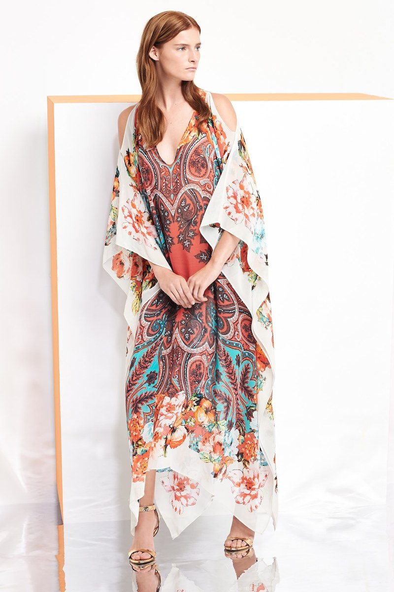 Etro Print Cold Shoulder Silk Caftan Dress