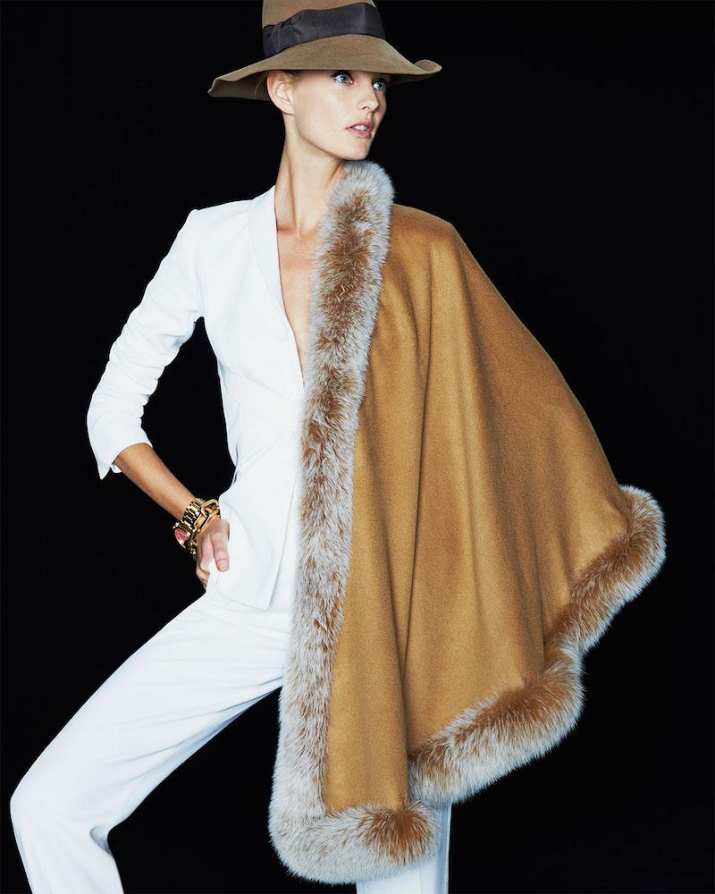Gorski Fox Fur-Trim Cashmere Capelet