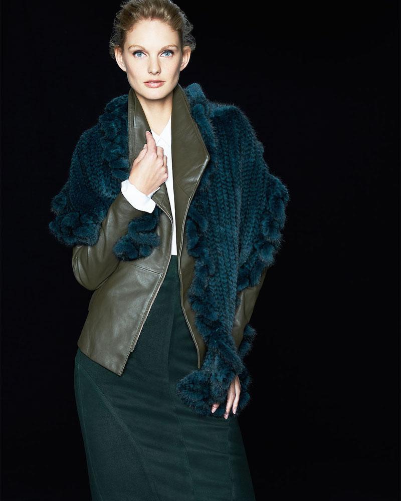 Gorski Knit Mink Fur Ruffle Shawl