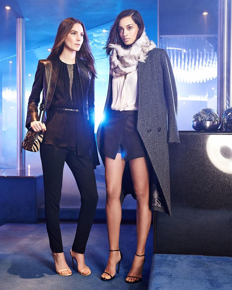 Halston Heritage Long-Sleeve Tweed Tuxedo Coat & Asymmetric Jersey/Lace Sleeveless Top