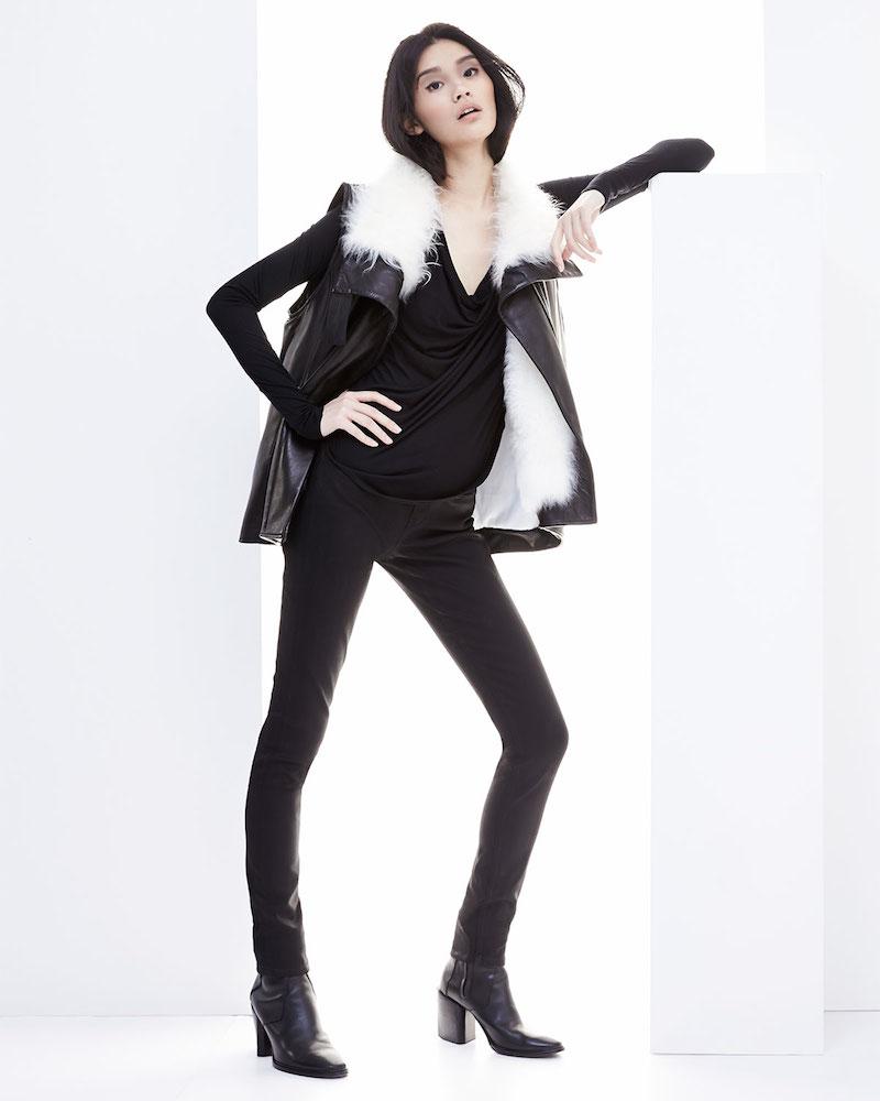 Helmut Lang Fur-Trim Leather Vest