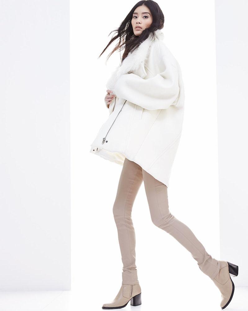 Helmut Lang Inclusion Fur-Collar Felt Coat