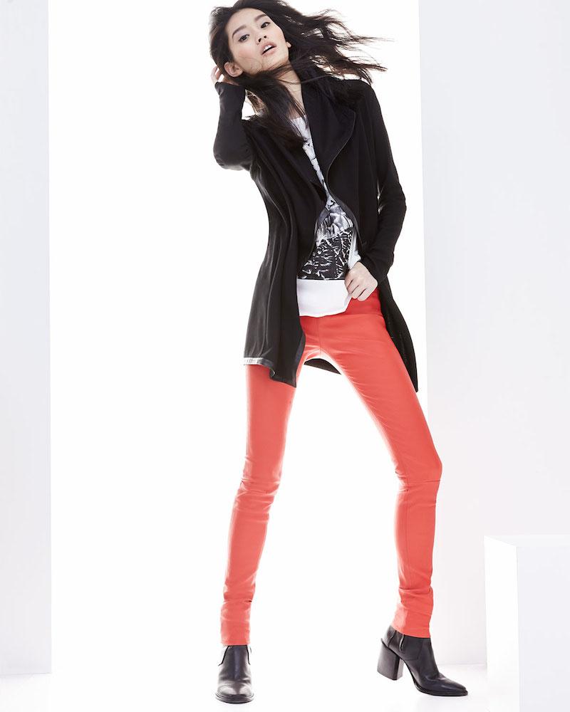 Helmut Lang Leather-Trim Long Wool Cardigan