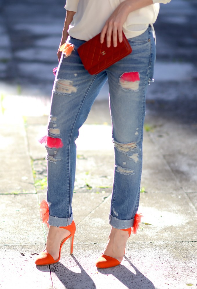 House of Holland Distressed Boyfriend Jeans with Tulle