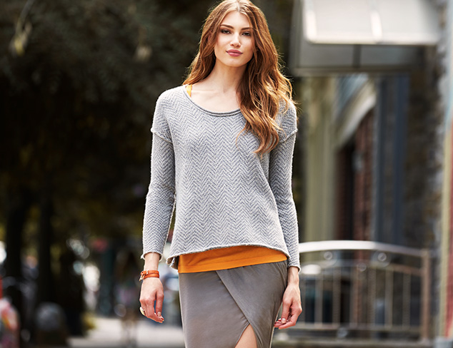 James Perse Herringbone Boxy Crewneck Sweater