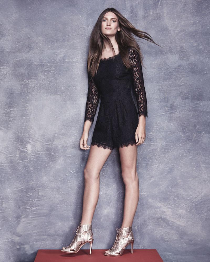 Joie Nali Long-Sleeve Lace Romper