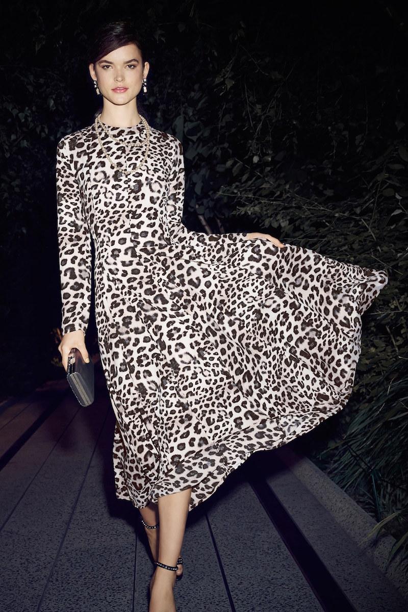 June & Hudson Mock Neck Cheetah Print Maxi