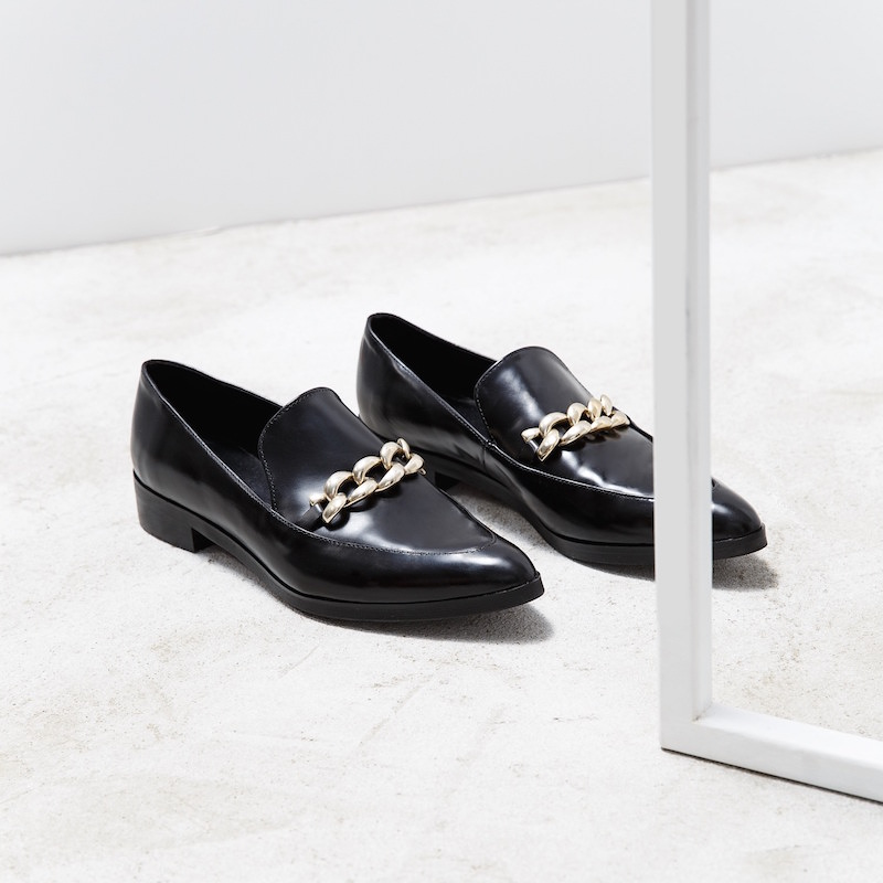 MANGO Link Leather Loafers