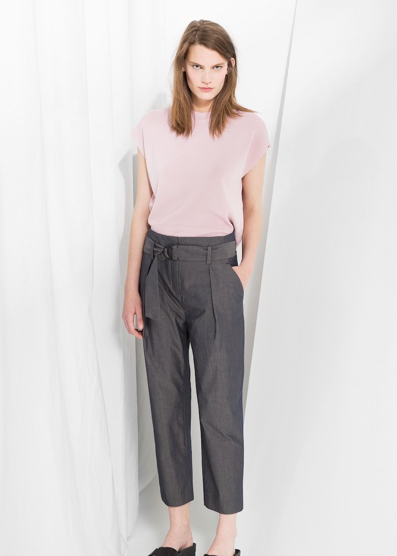 MANGO PREMIUM Belted Cropped Trousers