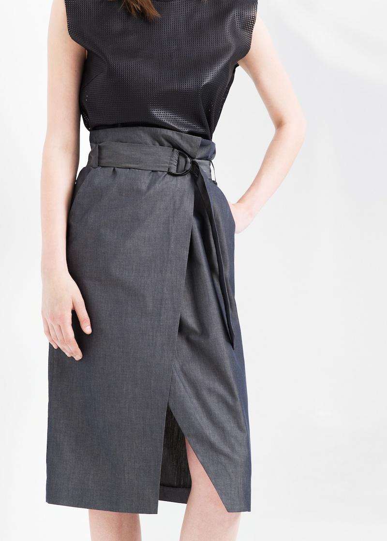 MANGO PREMIUM Belted Wrap Skirt